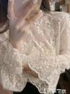 蕾絲打底衫 氣質仙女內搭蕾絲衫女秋冬新款長袖網紗洋氣小衫超仙精致打底上衣 智慧e家 新品