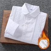 兒童加絨白襯衫小學生校服女童長袖純棉班服中大童白色襯衣校