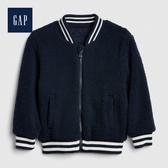 Gap男幼童保暖仿羊羔絨拉鍊棒球領外套509978-海軍藍