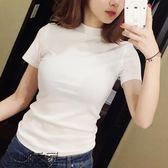 雙十二狂歡購夏裝純色緊身白色高領短袖t恤女韓國修身顯瘦半袖2018新款上衣服
