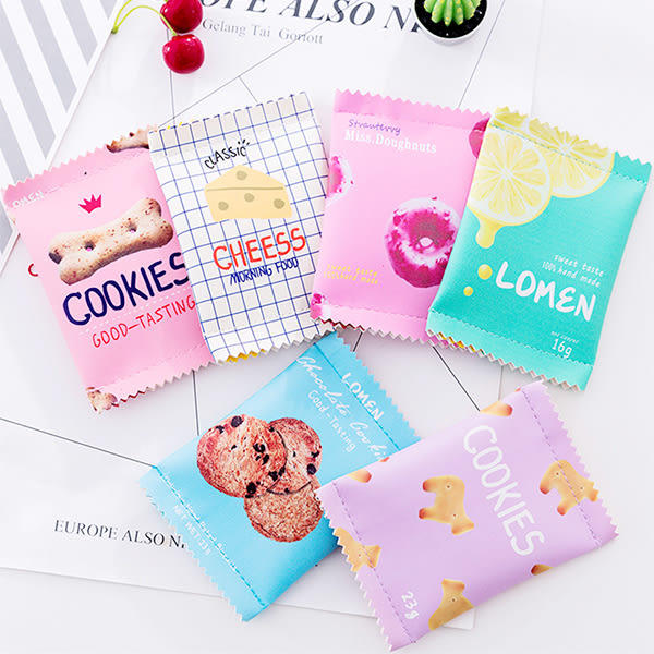 【BlueCat】韓版迷你雙封口仿真零食餅乾拉鍊零錢包 卡片包