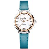 TITONI 梅花錶 炫美時尚之約械錶女錶-玫塊框x珍珠貝x藍錶帶/33.5mm 23978SRG-STT-622