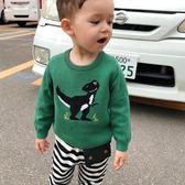 毛衣 童裝兒童秋裝男童小恐龍毛衣長袖3歲寶寶套頭毛衣針織衫