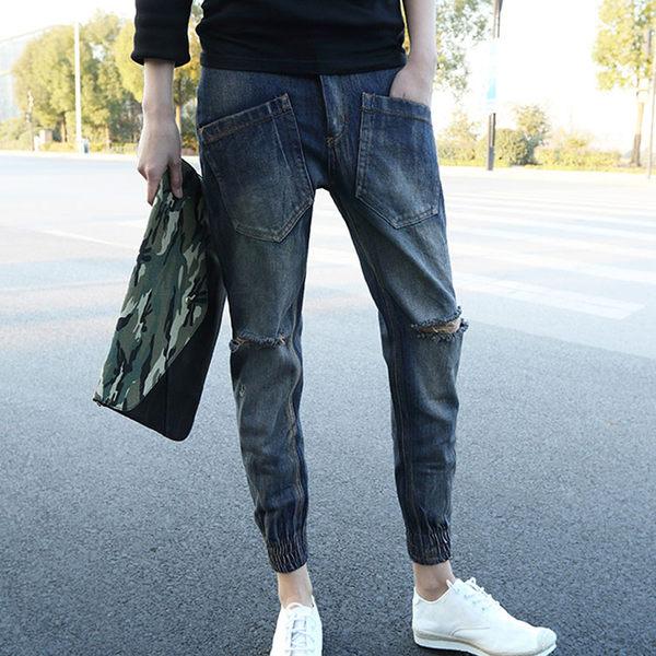 經典潮流日系簡約破褲造型百搭休閒束口牛仔褲