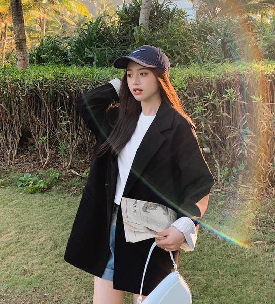 西裝外套 春秋西裝外套小個子女2021新款韓版套裝網紅休閒黑色西服上衣白色