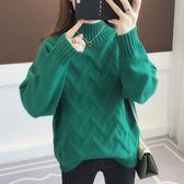慵懶風毛衣女半高領秋冬韓版新款網紅套頭針織衫寬鬆學生打底上衣  晴光小語