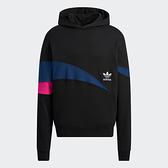 Adidas ORIGINALS TREFOIL STREAMLINE 男裝 長袖 帽T 撞色線條 棉 黑【運動世界】H46695