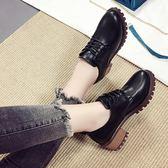 zipper鞋軟妹原宿chic小皮鞋女粗跟韓版百搭2018新款春季單鞋女鞋『櫻花小屋』