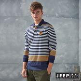 【JEEP】經典條紋長袖POLO衫 (灰色)