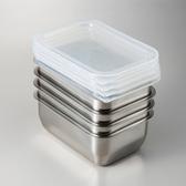 日本《YOSHIKAWA》304不鏽鋼附蓋保存容器盒四件組