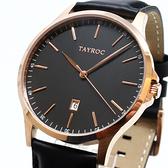 【萬年鐘錶】TAYROC 英國 紳士 風靡 火紅 平價 時尚 黑錶面 玫瑰金殼 黑皮帶 TXM104