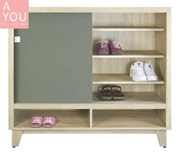 海倫4尺雙色推門鞋櫃(大台北地區免運費)【阿玉的家2020】