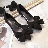 職業女鞋 黑色蝴蝶結職業貓跟女鞋中跟2021秋季新款百搭高跟鞋尖頭女單鞋潮 曼慕