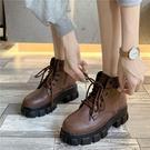 帥氣馬丁靴女增高小個子2020秋季顯瘦潮ins酷厚底英倫風短靴單靴 伊蘿