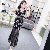 套裝女夏2018新款韓版繡花網紗拼接無袖V領上衣包臀半身裙兩件套