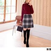 《CA1763》知性風毛呢格紋短褲裙 OrangeBear