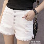 白色牛仔短褲女夏高腰排扣寬鬆學生破洞毛邊寬管褲熱褲子 可可鞋櫃