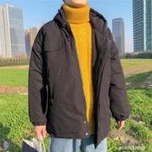 港風冬季潮流工裝棉衣男士韓版寬鬆棉服加厚加絨連帽棉襖外套 【傑克型男館】
