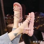 綁帶厚底涼鞋 女士仙女風2020年夏季新款百搭學生羅馬平底鞋潮 BT23334【衣好月圓】