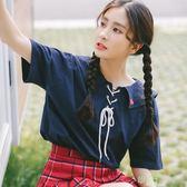 夏裝新款海軍風愛心刺繡系帶寬鬆短袖t恤女學生打底衫上衣潮