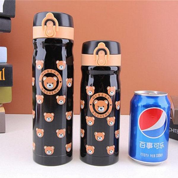 保溫瓶【KCW057】 可愛小熊保溫瓶500ml 大容量 真空不鏽鋼 保溫/保冷瓶  對杯 水瓶-123ok