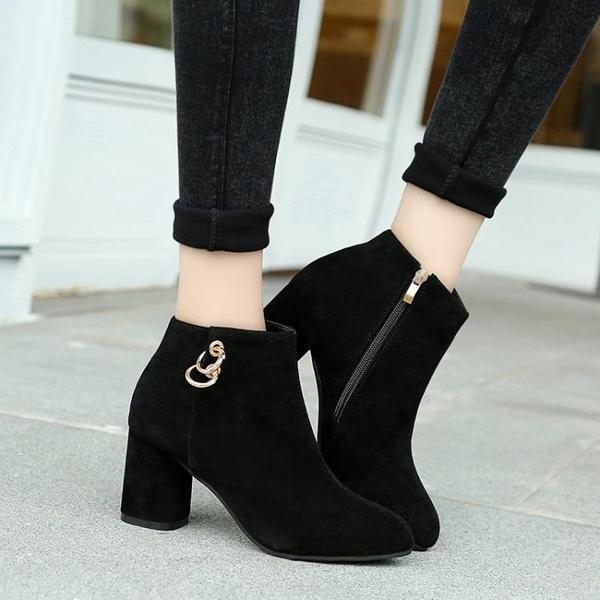 高跟鞋短靴女秋冬單靴高跟裸靴時尚粗跟馬丁靴加大碼41 42 43特大碼女鞋