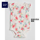 Gap女嬰兒 純棉印花蝴蝶袖連身衣包屁衣 319476-新純白花朵圖案