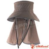 Wildland 荒野 W1028-62黃卡其 中性抗UV多功能遮陽帽 防曬工作帽/登山健行休閒帽/遮臉大圓盤帽*