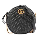 【GUCCI】GG Marmont圓餅肩揹/斜背包(mini)(黑色) 550154 0OLET 1000