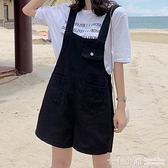 吊帶褲~牛仔短褲女夏季2021年新款大碼顯瘦黑色寬鬆可愛吊帶寬管熱褲子潮