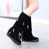 流蘇靴 冬季女鞋大碼圓頭厚底內增高中跟磨砂流蘇靴加絨棉鞋平底中筒靴子 - 古梵希
