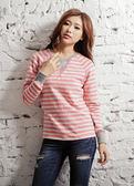 【BTIS】拉克蘭條紋女長袖T恤 粉紅色