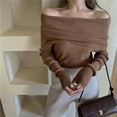 一字肩上衣 毛衣女裝春秋黑色港風復古外套溫柔風針織衫露肩性感套頭外穿上衣 晶彩 99免運