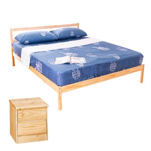 【YFS】頂級松木雙人床架二件房間組(床架DIY+床頭櫃)