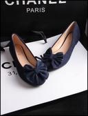 質感絨布舒適素面圓頭娃娃鞋平底鞋工作鞋女鞋藍色(35-41大尺碼)現貨