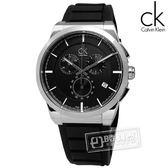 CK / K2S371D1 / Dart 個性奔馳時尚三眼計時橡膠手錶 黑色 44mm
