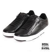 ROYAL 新竹皇家 Icon 黑色 皮質 格紋 套入式 休閒鞋 男款NO.A9449