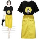 超殺29折 韓系時尚顯瘦人物圖騰印花套裝短袖裙裝