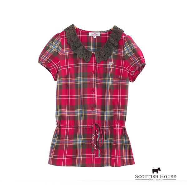 V領蕾絲格紋襯衫 Scottish House【AD1302】