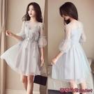 雪紡洋裝 新款洋氣大碼女裝胖仙女夏裝顯瘦遮肚子網紗雪紡洋裝女-Ballet朵朵