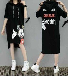 中大尺碼休閒短袖XL-5XL大碼女卡通連帽衛衣裙短袖中長款連身裙3F109.6039韓依紡