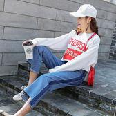 大韓訂製高腰褲韓版直筒牛仔褲毛邊九分闊腿褲
