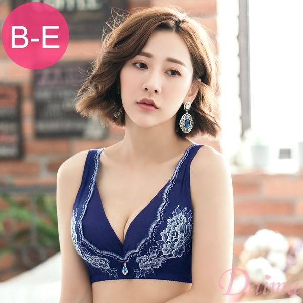 無鋼圈。蠶絲(B-E)托高深V爆乳3D立體圓潤胸型 雅典女神蕾絲內衣(藍色)【Daima黛瑪】