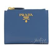 茱麗葉精品【全新現貨】PRADA 1ML024 浮雕LOGO水波紋雙拉鍊對開扣式短夾.藍