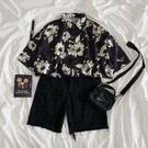 2021夏款復古港風花朵襯衣半袖小碎花港味設計感小眾襯衫女裝短袖
