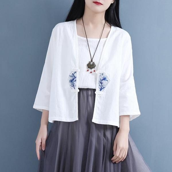 棉麻上衣 中國風復古文藝夏季雙盤扣團花七袖小開衫 棉麻女裝小外套上衣女涼感