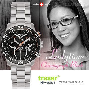 Traser Ladytime Chronograph Black三環時尚錶【AH03072】i-Style居家生活