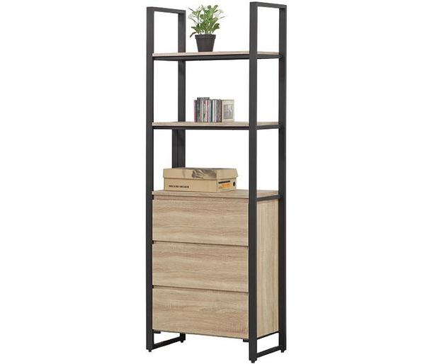 書櫃 書櫥 SB-816-4 哈佛2.3尺梧桐鐵架三抽書櫃【大眾家居舘】