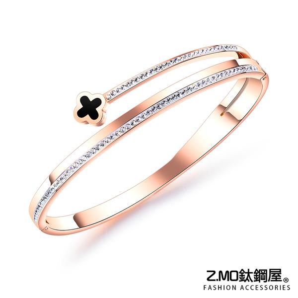 Z.MO鈦鋼屋 女性手環 白鋼手環 鍍玫瑰金色 幸運草鑲鑽手環 可加購刻字 單件價【CKS951】