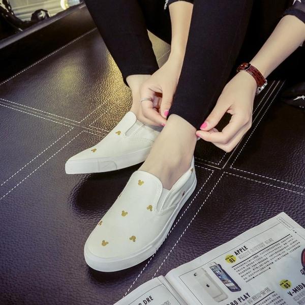 樂福鞋 2020新款韓版米奇帆布鞋女式休閑懶人鞋一腳蹬小白鞋樂福鞋薄布鞋 薇薇